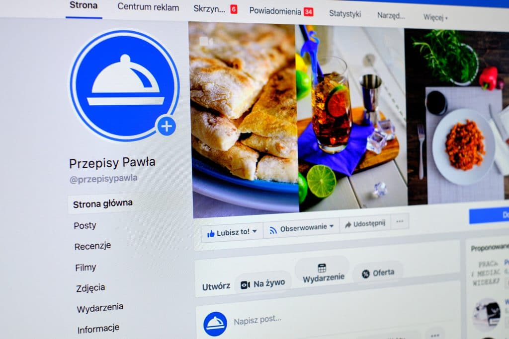Fanpage bloga kulinarnego na Facebooku.