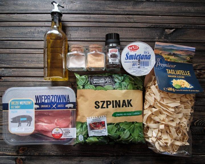 makaron ze szpinakiem i boczkiem - składniki